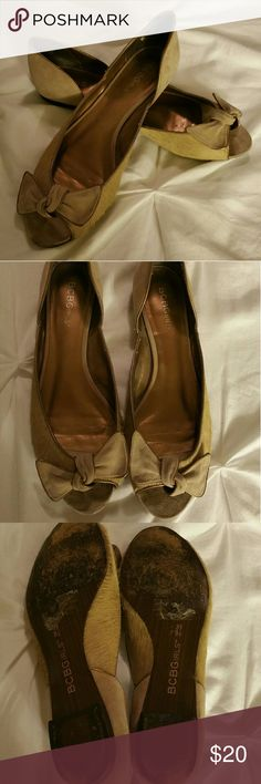 "BCBGirls Calf Hair Suede Bow Peep Toe Flats Size is 8.5. Brand is BCBGirls.  Color is beige, brown, gold. The suede on the front is a little dirty and minor scuffs as seen on the pictures.  No trades. If you have any questions please ask. If you don't like the price please use the offer button.  Have an amazing day! ""Great Sense of Style"" BCBGirls Shoes Flats & Loafers"