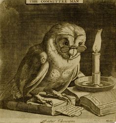 Satire with an owl wearing spectacles standing on a closed book, beside him a candle rests on an open book (after a print by Cornelis Bloemaert, Roethlisberger H5) Engraving
