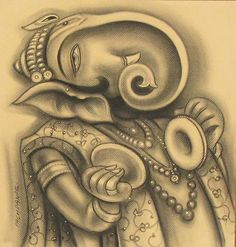 Mix Media On Paper And Charcoal On Paper By Indian Artist Ramesh Pachpande Ganesha Painting, Ganesha Art, Indian Contemporary Art, Indian Artist, Charcoal Drawing, Art Forms, Online Art, Art Gallery, Miniatures