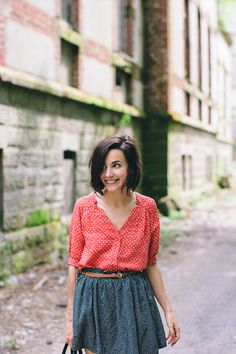 red top and navy dot skirt | mix of prints outfit