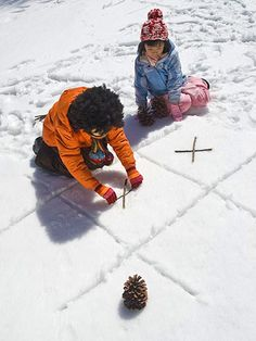 Play Tic-Tac-Snow with sticks and pinecones! http://www.parents.com/fun/activities/outdoor/snow-activities-kids/?socsrc=pmmpin121212wwfTicTacSnow#page=7