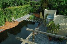 Zwemvijver aangelegd door TuinKeur Hovenier: Braam Tuinen Drupal, Garden Bridge, Pergola, Outdoor Structures, River, Arbors, Rivers