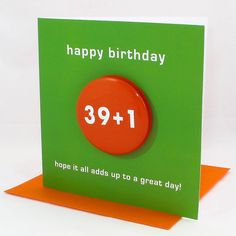 A special age birthday card with a badge designed to wear. Can you work the sum out?A range of ages from 18 to 100!This birthday card with a badge is designed to wear for those milestone birthdays. Can you do the maths? A birthday card that is designed to exercise those little grey cells just a little. All cards come with the answer on the back too! The cards are blank inside for your own special message.All our cards are printed on FSC paper and made with care in England.The card is 13cm ...