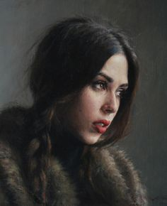 """Camille"" - Alex Russell Flint (British, b. 1974), oil on canvas panel {figurative art beautiful female head woman face portrait cropped painting} alexrussellflint.com"