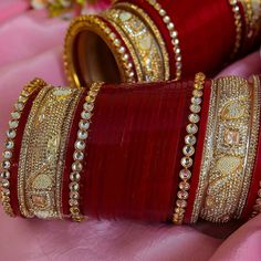 Wedding Day Makeup For Bride Website 33 Ideas Thread Bangles Design, Thread Jewellery, Temple Jewellery, Bridal Bangles, Bridal Jewelry, Silver Jewelry, Gold Bangles, Glass Jewelry, Antique Jewelry
