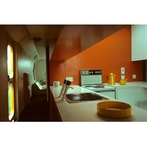 Experimental Plastic House: GRP Modular Unit Type Milton Keynes,  Buckinghamshire:the Kitchen Looking Through To The Living Room Part 83