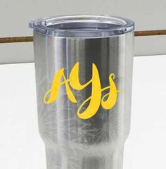 Funky Initials Monogram for Yeti tumbler personalization. Easy DIY gift idea for the not-so-crafty!
