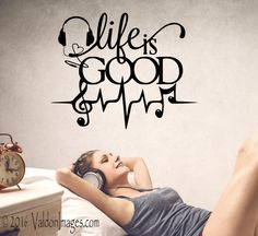 Life is good music note wall decal by ValdonImages #musiclover #musicnote #musicdecor #teenroomdecor