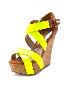 Neon strap faux-cork wedge in neon yellow. $35.50 on charlotterusse.com.