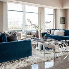 60+ Modern Living Room Decor Ideas - Get the look: Modern blue sofa living room