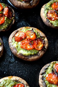 Pesto Stuffed Mushrooms | Every Last Bite