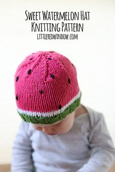 Make this sweet watermelon hat with Lion Brand Vanna's Choice! Free pattern by Little Red Window.