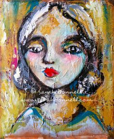 A3 Large Print Mixed Media Girl Painting Portrait Mixed Media Collage Wall Art Mustard Textured Glicee Modern Retro Art - Allowing Light. $50.00, via Etsy.