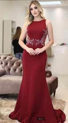 Prom Dresses Simple, Burgundy Mermaid Evening Dresses Popular Sleeveless Jewel Neck Beaded Appliques Long Arabic Evening Robe de soriee Prom Gowns, A long dress makes an elegant statement at any formal event whether it is prom, a formal dance, or wedding. Evening Dress Long, Mermaid Evening Dresses, Formal Evening Dresses, Evening Gowns, Formal Prom, Evening Party, Gold Prom Dresses, Prom Dresses For Sale, Bridesmaid Dresses