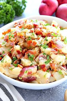 This German Potato Salad Recipe is made with warm red potatoes, crispy bacon and tangy mustard onion dressing. This German Potato Salad Recipe is made with warm red potatoes, crispy bacon and tangy mustard onion dressing. Salad Recipes With Bacon, Potato Salad Recipe Easy, Bacon Salad, Bacon Recipes, Side Recipes, Cooking Recipes, Potato Salad With Bacon, Red Potato Recipes, Cooking