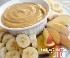 Peanut Butter Fruit Dip ~ Aside from it being absolutely delicious, it is jam packed with calcium and protein and its light and healthy - good snack for my gkids. Dessert Dips, Köstliche Desserts, Delicious Desserts, Dessert Recipes, Yummy Food, Healthy Food, Dessert Healthy, Health Desserts, Dip Recipes