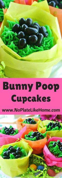 Your kids will love making these super easy cupcakes! Use any cake recipe you like with green icing and black jelly beans! It is the perfect unique Easter dessert that is funny, cute and very edible!