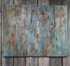 Original Rustic Texture Abstract Art, Gold Leaf and Turquoise Blue Green Painting by Amy Neal