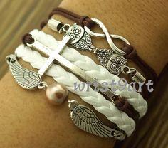 Infinity bracelet - two owls bracelet,two wings bracelet,antique silver,brown bracelet for girls,vintage style on Etsy, $5.99