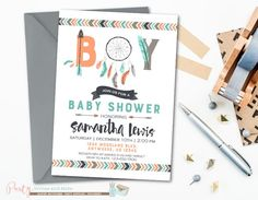 Tribal Baby Shower Invitation, Aztec Baby Shower Invitation | Party Invites and More