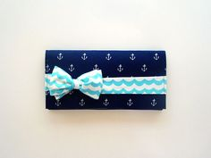 So cute, I love the bow! Navy Anchors Bow Tie Clutch with Choppy Waters #etsy #clutch #navy #nautical