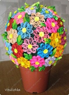 Bonsai, topiary Quilling: Paper Flower mood bars. Photo 2