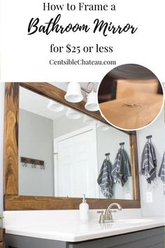 Farmhouse Bathroom Mirrors, Bathroom Mirror Makeover, Downstairs Bathroom, Diy Bathroom Decor, Simple Bathroom, Bathroom Interior, Master Bathroom, Bathroom Ideas, Bathroom Organization