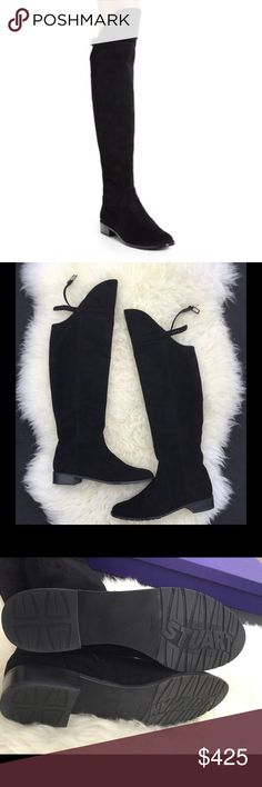 🎉HP🎉 New Stuart Weitzman Needarid OTK Boots Brand New in Box (no dust bag) Stuart Weitzman Needaride Black Suede Boots 9.5M Over The Knee Retail $695.00  Sleek & chic is how you'll look wearing these fab Stuart Weitzman® boots A high/low topline bridged by a slender belt adds an alluring element to a lush, suede over-the-knee boot set on a low, equestrian-inspired heel Suede leather upper Buckled strap at top of shift Partial side zip closure Leather lining Lightly padded leather footbed…
