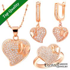 Find More Jewelry Sets Information about Top Quality  925 Sterling Silver CZ Zircon Fashion Love Heart With Butterfly Rose Gold Plated Crystal For Wedding Free Shipping,High Quality crystal led light box,China crystal heart flash drive Suppliers, Cheap crystal wristband from ULOVE No.2 Fashion Jewelry Store  on Aliexpress.com