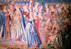 On October 1514 an 18 year-old Mary Tudor wed the 52 year-old Louis XII of France at Abbeville. By January of 1515 she was widowed and free to marry Charles Brandon, Duke of Suffolk. Tapestry of the wedding ceremony at Hever Castle. Tudor History, British History, Ancient History, Anne Boleyn, Mary Boleyn, Henry Viii, King Henry, Mary Tudor, Elizabeth Of York