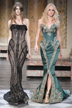 "Zuhair Murad. Look at that green dress on the right, oh my god. ♡♥♡♥ Thanks, Pinterest Pinners, for stopping by, viewing, re-pinning, & following my boards. Have a beautiful day! ^..^ and ""Feel free to share on Pinterest ^..^  #topfashion #fashionandclothingblog #fashionupdates *•.¸♡¸.•**•.¸ ┊  ┊ ┊ ┊  ┊"