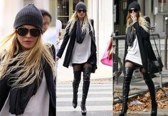 I Love Lindsay Lohan - Overknee Boots + Chunky Knitwear