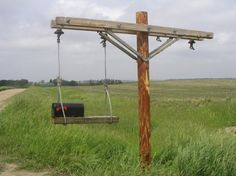 Keeps plows from hitting it!Would love to do something like this as a swing set one day for our future kiddos! Lineman Love, Power Lineman, Lineman Gifts, Diy Mailbox, Mailbox Ideas, Mailbox Post, Lineman For The County, Future House, My House