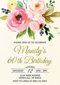Free printable 60th birthday invitation templates drevio 60th birthday invitations for women sixty and fabulous invitation floral birthday invitation cheers to 60 years gold foil a32 filmwisefo