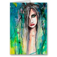 Abstract Watercolor Woman Portrait Fantasy Art Greeting Cards