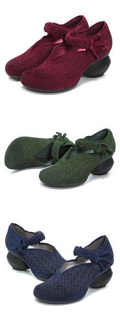 SOCOFY Vintage Suede Mid Heel Handmade Leather Knitting Pumps