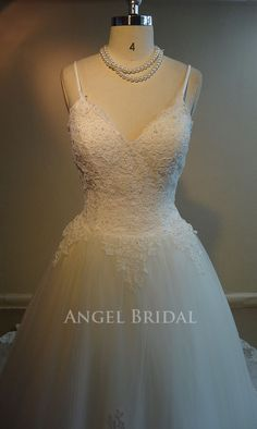Lace Wedding dress Tulle Wedding DressStraps by AngelBridal,