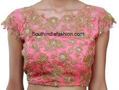 peach saree and designer blouse