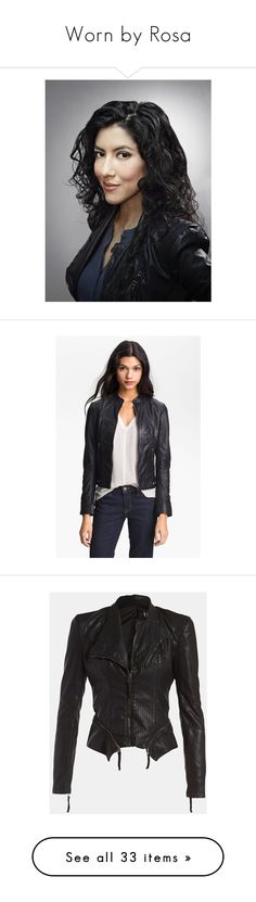 """""""Worn by Rosa"""" by reginalinetti ❤ liked on Polyvore featuring outerwear, jackets, black, leather jacket, genuine leather biker jacket, real leather jackets, perforated leather jacket, perforated jacket, leather jackets and vegan leather jacket"""