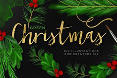Christmas Illustration Bundle + EU by Creators Couture on Creative Market. http://crtv.mk/c0DWg. Beautifully hand drawn holiday and christmas foliage, wreaths, holly, misteltoe, pine, christmas tree and berries! Perfect for your holiday designs and printables!