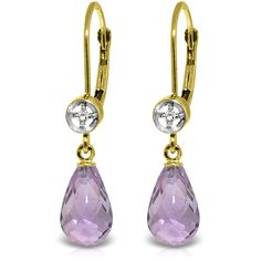 "14K Solid Gold 4.50 ct Femme Amethyst Diamond Earrings (""3217"") Jewelcology"