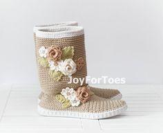 Ganchillo botas de la calle popular Tribal Boho botas hechos por encargo Pavlov Posad Beige Rusia
