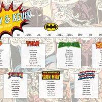 superhero wedding table plan