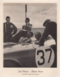 ASCARI ALBERTO: (1918-1955) Italian Motor Racing Driver, Formula One World Champion in 1952 & 1953. Rare vintage signed photograph, the image depicting Ascari seated in his Factory Team 3.3 Lancia racing car as he is attended to by various mechanics. With a printed caption to the lower white border. Signed by Ascari in bold pencil to a clear area and dated 1954 in his hand. Autographs of Ascari are rare in any form as a result of his untimely death at the age of 36 whilst racing a car at…