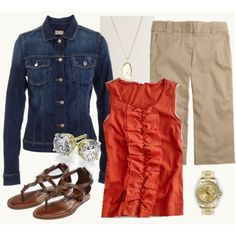 i like it but i would wear it with the jean jacket open, and different pants. other than that, i like it!
