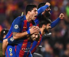 Luis Suarez (L) and Javier Mascherano of Barcelona celebrate victory after the UEFA Champions League Round of 16 second leg match between FC Barcelona and Paris Saint-Germain at Camp Nou on March 8, 2017 in Barcelona, Catalonia. Barcelona won by 6 goals to one to win 6-5 on aggregate.