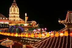 - h - h Display of Lights at Kek Lok Si Temple Location: Kek Lok Si Temple, Air Itam Happy Mid Autumn Festival, Buddhist Temple, Our Planet, Chinese Culture, Chinese New Year, Asia Expat, Building, Places, Travel