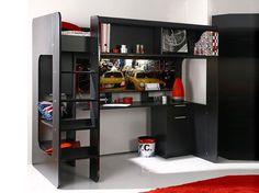 Lit mezzanine avec plein de rangements / Clever mezzanine bed : http://www.maison-deco.com/chambre/deco-chambre/Tendance-le-lit-mezzanine/Un-lit-mezzanine-astucieux-plein-de-rangements