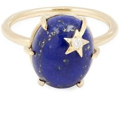 Gold Mini Star Lapis Ring ($2,805) found on Polyvore featuring women's fashion, jewelry, rings, gold star ring, yellow gold rings, gold star jewelry, star ring and yellow gold jewelry