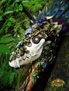 Coyote Skull Scepter Staff Wand Amethyst Labradorite Shaman Wiccan Magick Pagan Altar Totem Ritual Art COYOTE SPIRIT by Spinning Castle